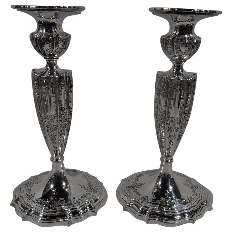 Pair of American Edwardian Regency Sterling Silver Candlesticks For Sale