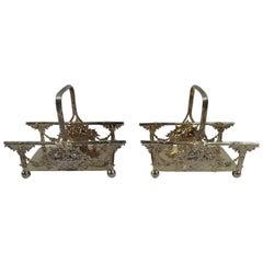 Pair of American Edwardian Sterling Silver Flower Basket Napkin Rings