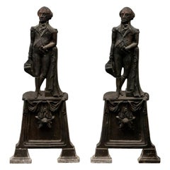 Pair of American Empire Cast Iron George Washington Andirons, circa 1840