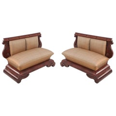Pair of American Empire Crotch Mahogany Veneer Upholstered Window Seats