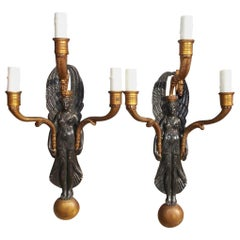 Pair of American Empire Figural Gilt Bronze Three-Light Sconces, Circa 1830