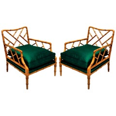 Pair of American Faux Bamboo Cockpen Armchairs