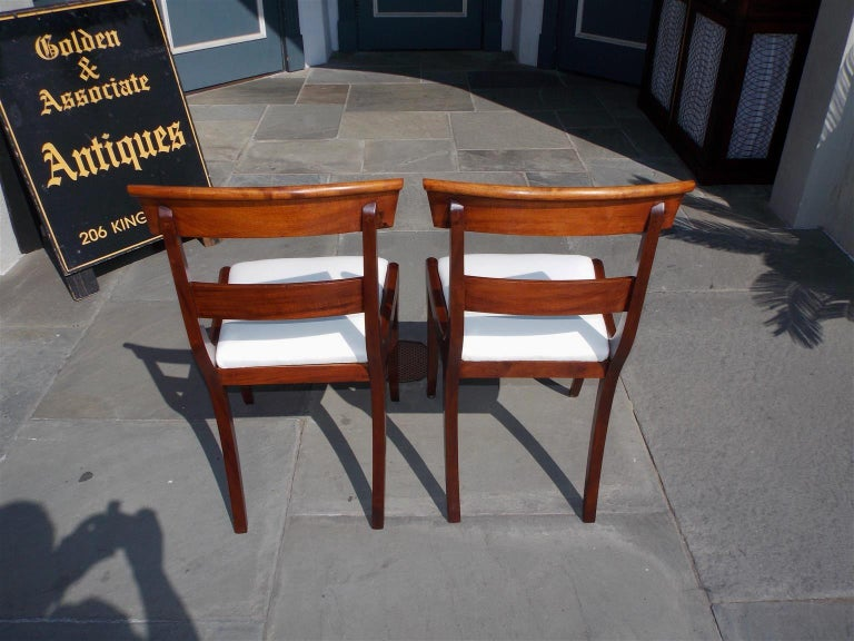 Pair of American Federal Mahogany Upholstered Side Chairs on Saber Legs, C. 1820 For Sale 1