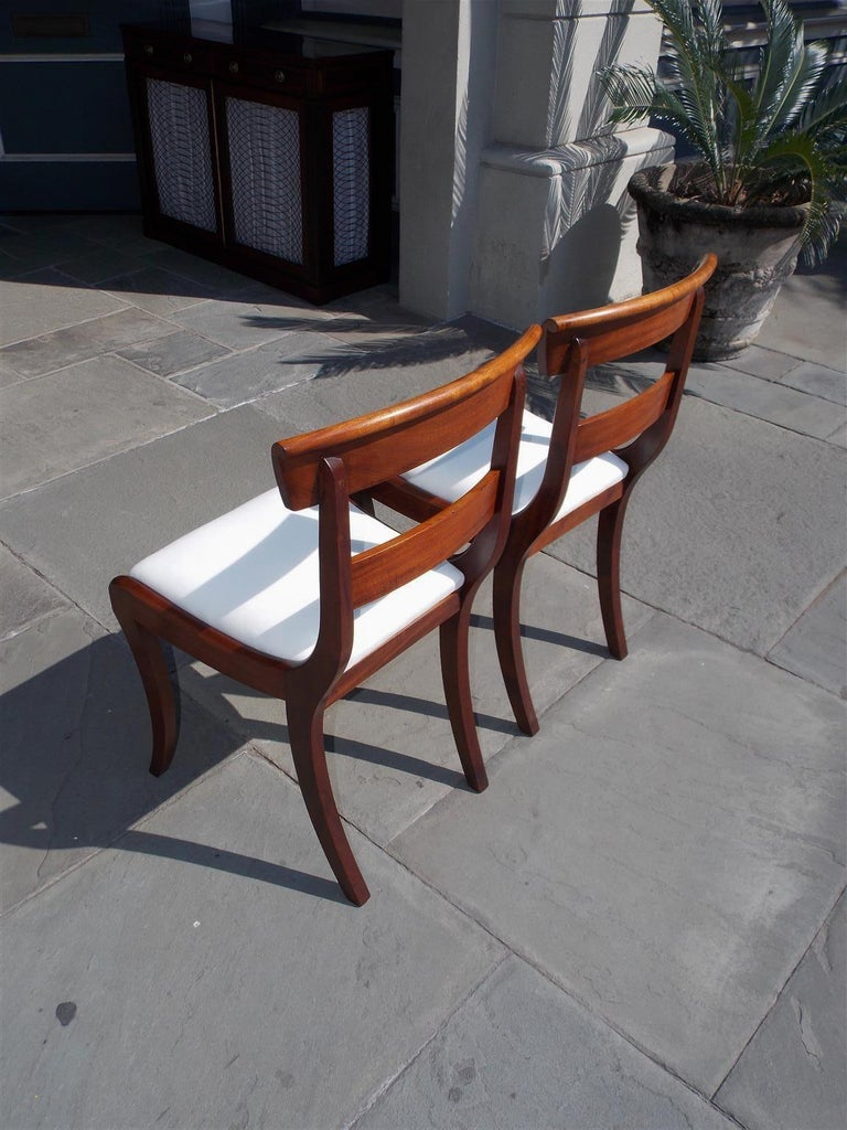 Pair of American Federal Mahogany Upholstered Side Chairs on Saber Legs, C. 1820 For Sale 2