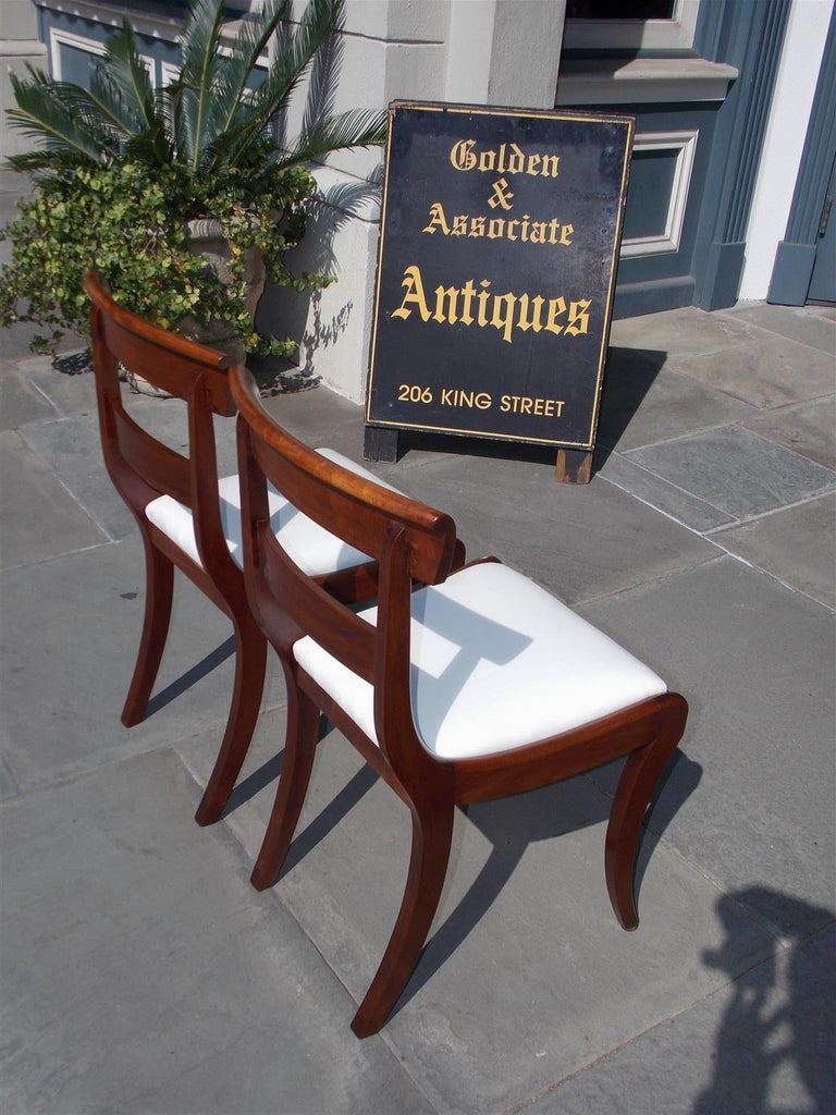 Pair of American Federal Mahogany Upholstered Side Chairs on Saber Legs, C. 1820 For Sale 3