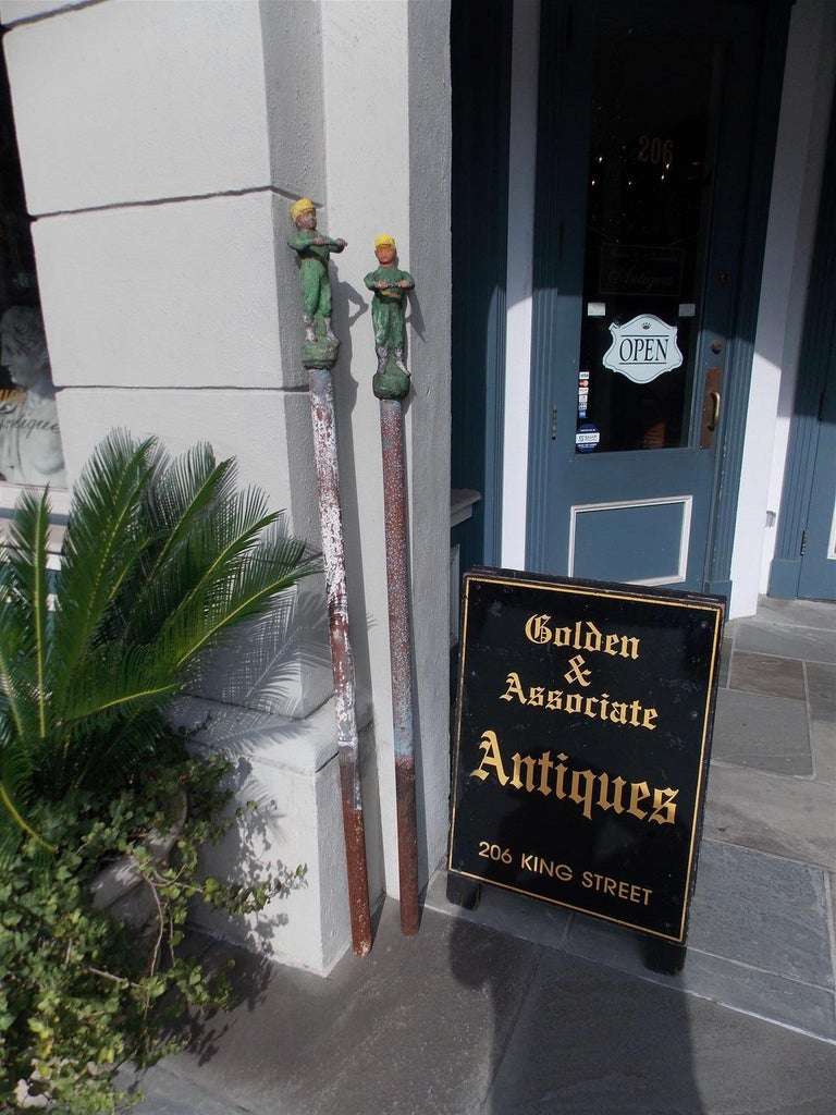 American Empire American Figural Jockey Painted Cast Iron Swivel Hitching Post circa 1850, Pair For Sale