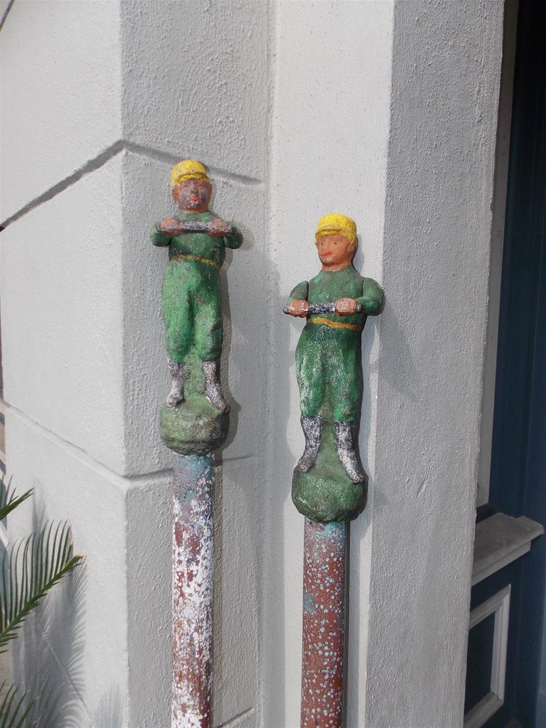 American Figural Jockey Painted Cast Iron Swivel Hitching Post circa 1850, Pair In Excellent Condition For Sale In Charleston, SC