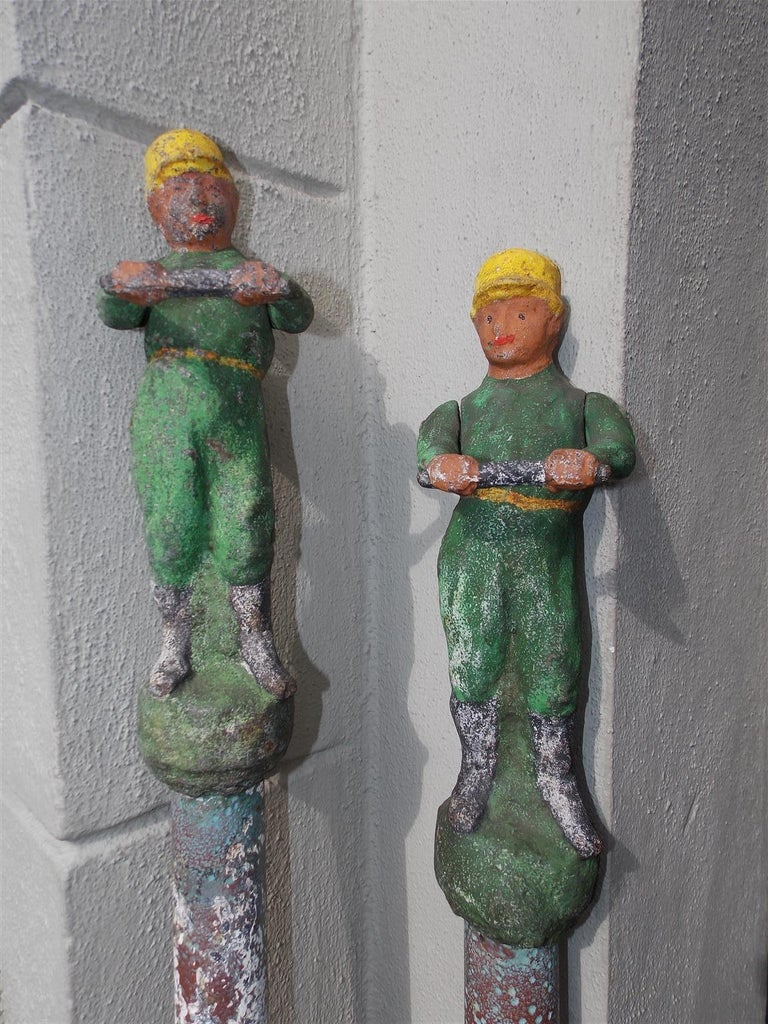 Mid-19th Century American Figural Jockey Painted Cast Iron Swivel Hitching Post circa 1850, Pair For Sale