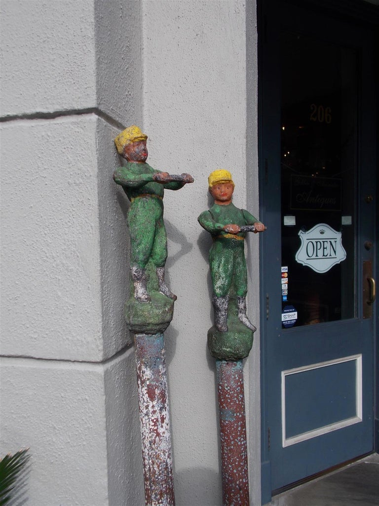 American Figural Jockey Painted Cast Iron Swivel Hitching Post circa 1850, Pair For Sale 1