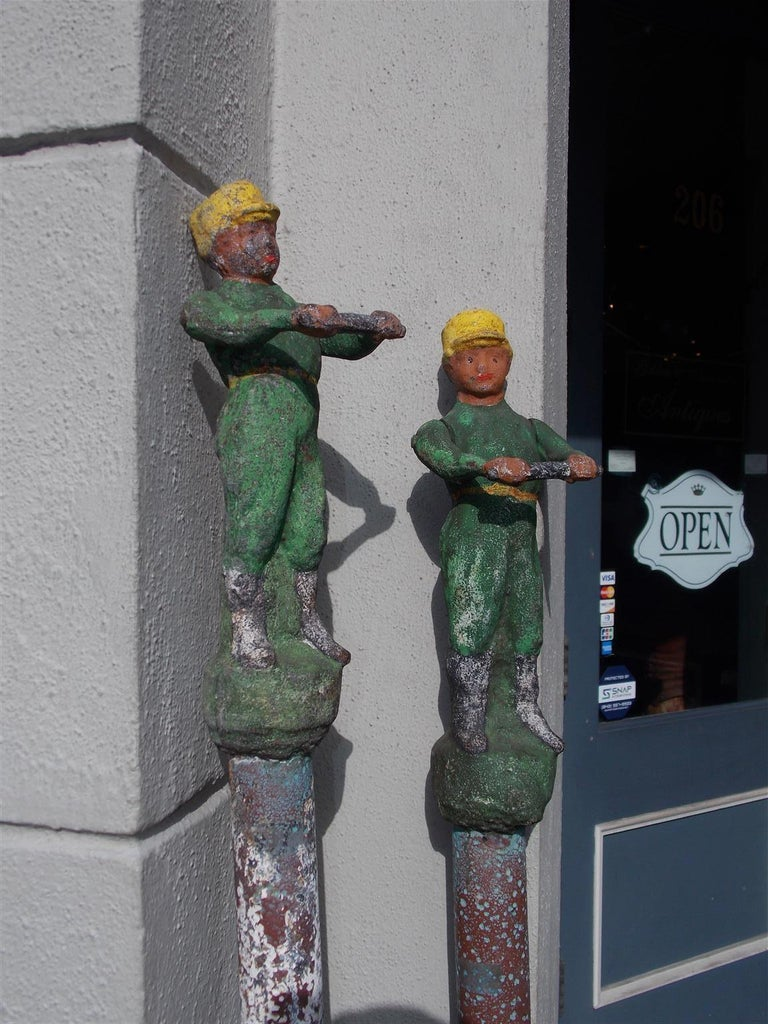 American Figural Jockey Painted Cast Iron Swivel Hitching Post circa 1850, Pair For Sale 3