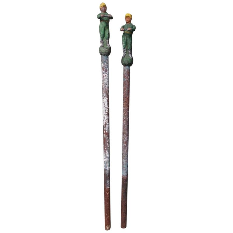 American Figural Jockey Painted Cast Iron Swivel Hitching Post circa 1850, Pair For Sale