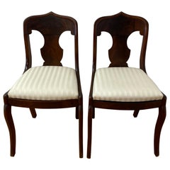 Pair of American Flame Mahogany Empire Style Side Chairs