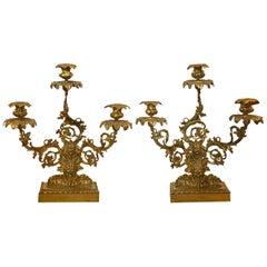 Pair of American Gilt Bronze Three-Arm Candelabras, Grape Leaf Motif