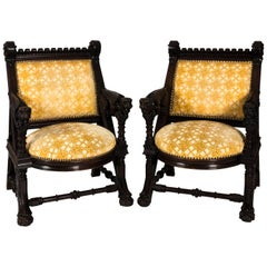 Pair of American Gothic Revival Armchairs by Daniel Pabst, circa 1878