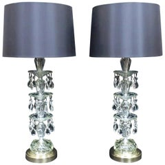 Pair of American Hollywood Regency Midcentury Crystal Glass Table Lamps
