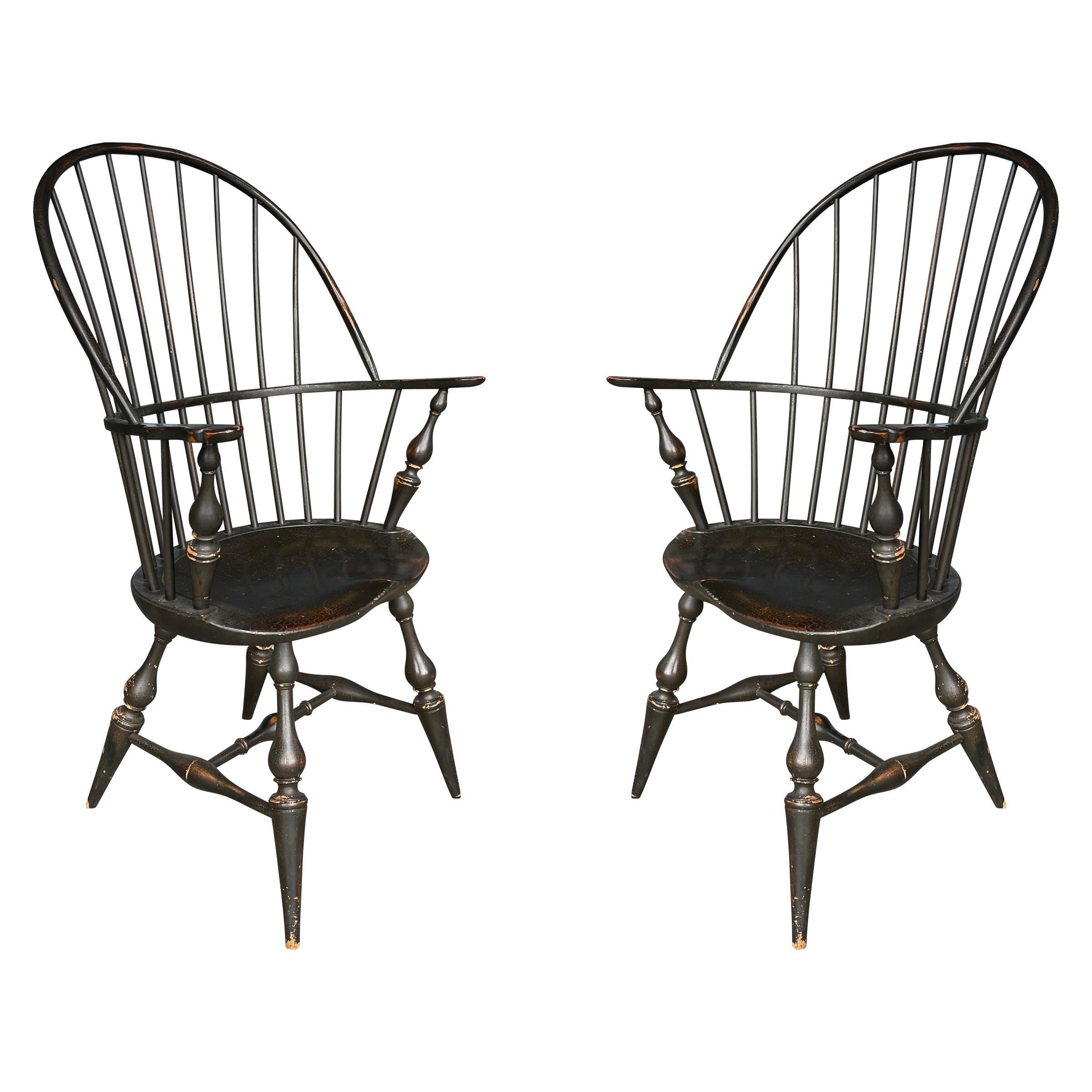 Pair of American Hoopback Windsor Chairs
