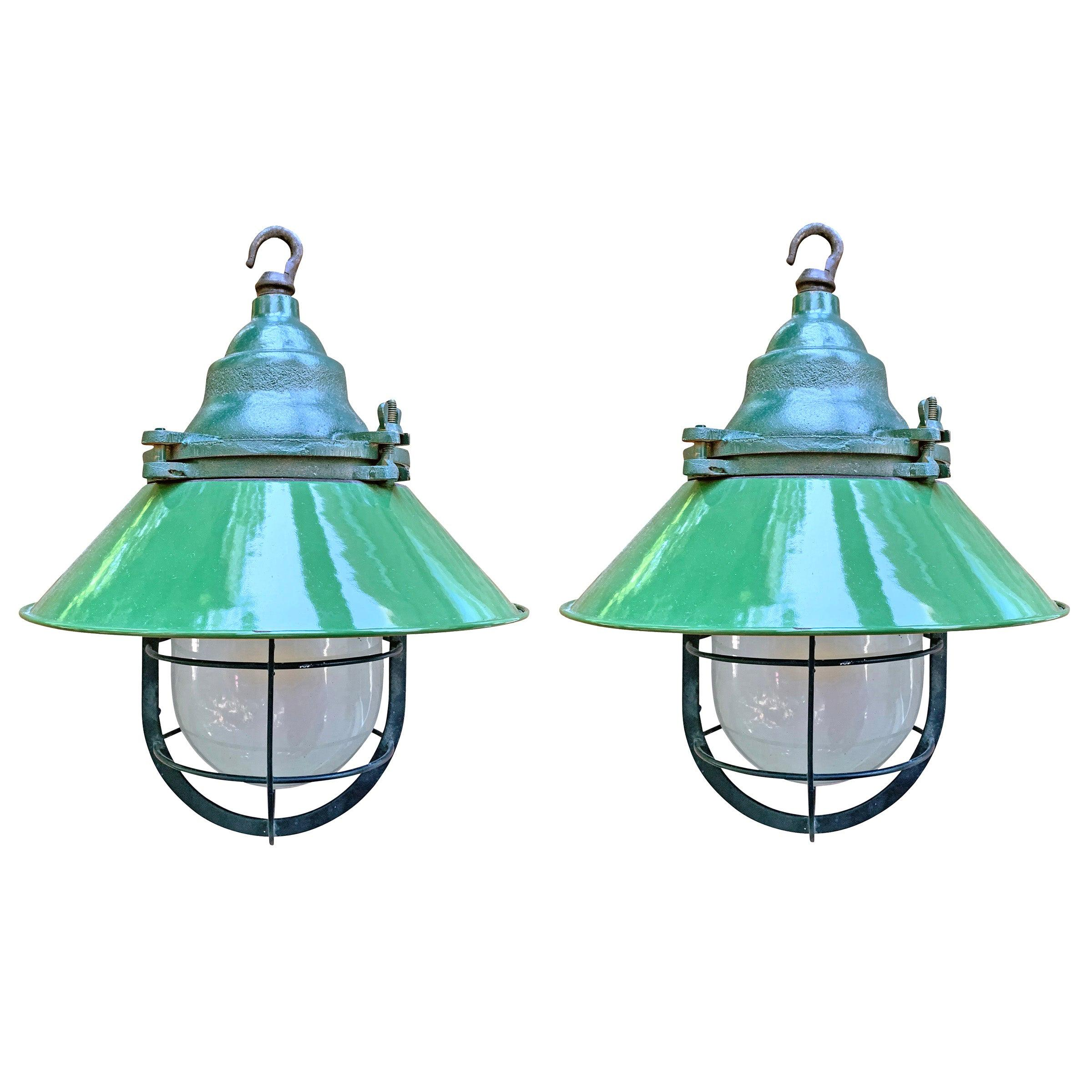 Pair of American Industrial Enamel Pendant Light Fixtures
