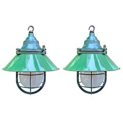 Pair of American Industrial Enamel Pendant Light Fixtures