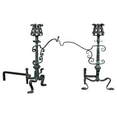 Pair of American Iron Andirons with Patina Finish and Cooking Arms, circa 1900