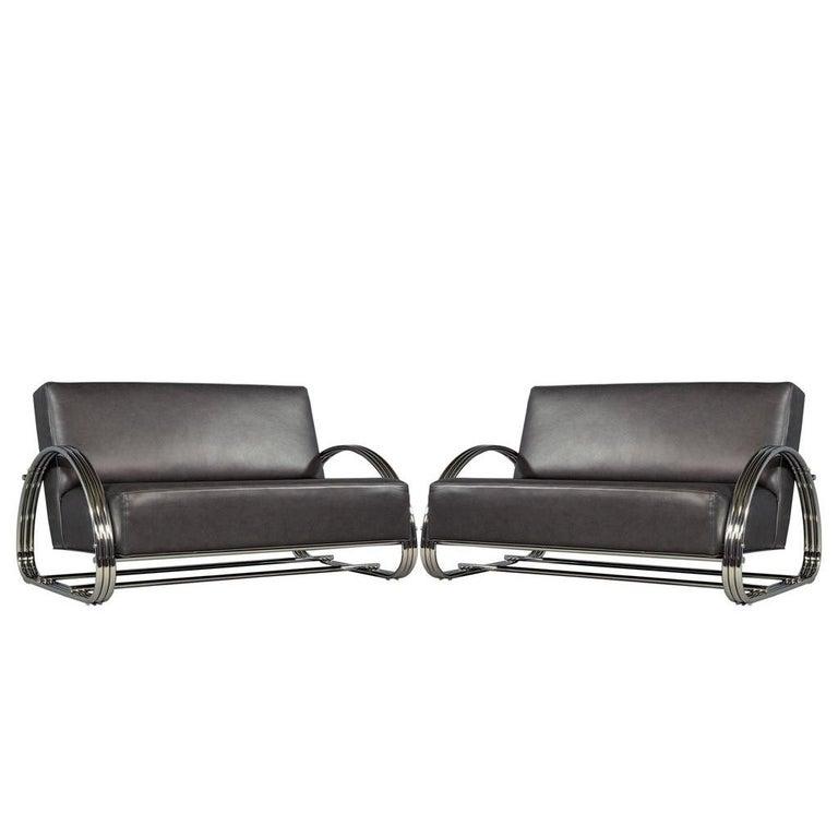 Phenomenal Pair Of American Made Mid Century Modern Inspired Leather Loveseat Sofas Lamtechconsult Wood Chair Design Ideas Lamtechconsultcom
