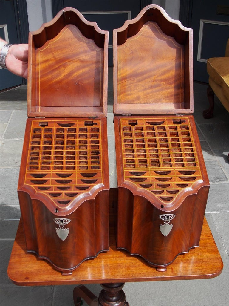 Hand-Carved Pair of American Mahogany Serpentine Cutlery Boxes with Silver Mounts , C. 1790 For Sale