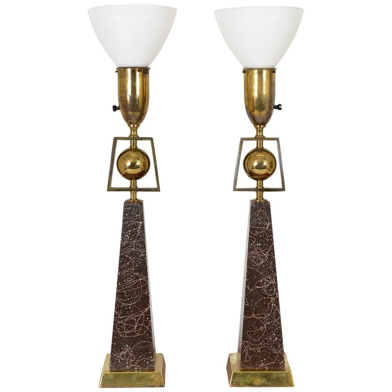Pair of American Mid-Century Modern Obelisk Table Lamps by Rembrandt Lighting For Sale