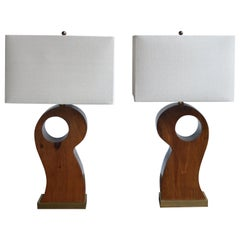 Pair of American Midcentury Wooden Lamps with Rectangular Linen Shades