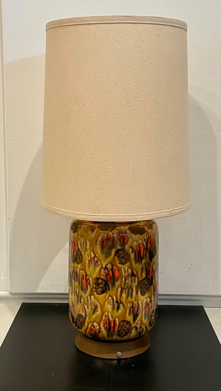 Pair of American Midcentury Drip Lava Glaze Ceramic Table Lamps For Sale 1