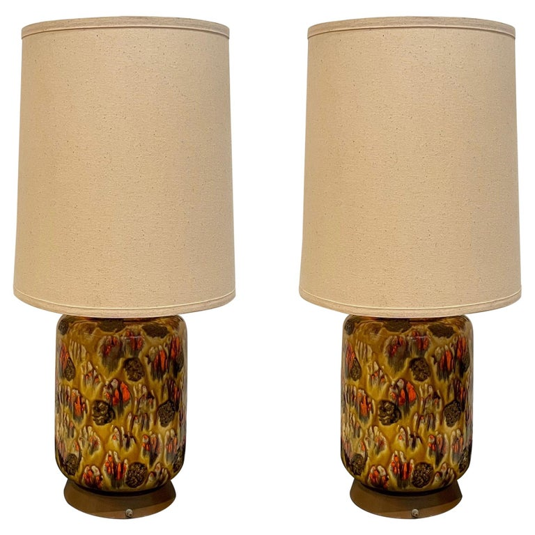 Pair of American Midcentury Drip Lava Glaze Ceramic Table Lamps For Sale