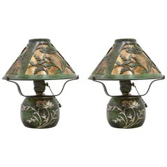 Pair of American Mission Heintz Art Metal Table Lamps