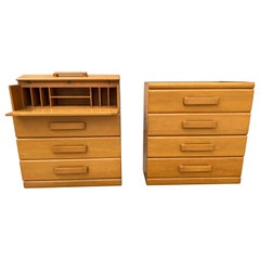 Pair of American Modern 4 Drawer Chests / Desk, Russel Wright, Conant Ball