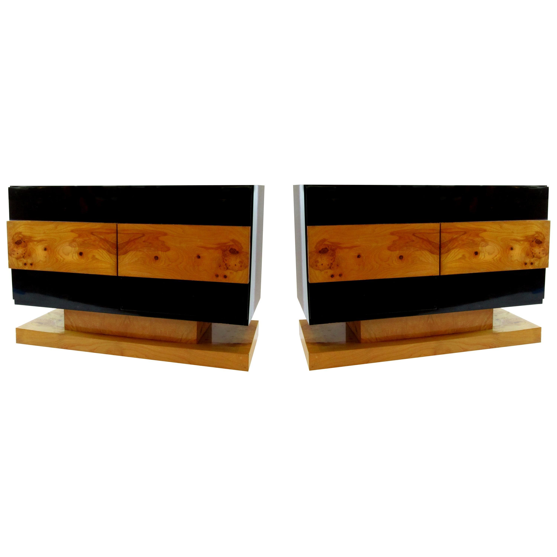 Pair of American Modern Black Lacquer and Burled Wood Credenzas, Vladimir Kagan