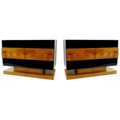 Pair of American Modern Black Lacquer and Burled Wood Credenzas, Vladimir Kagan