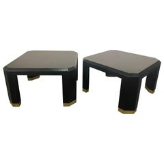 Pair of American Modern Black Lacquer Linen Brass Occasional/Low Tables,Ron Seff