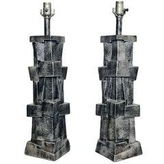 Pair of American Modern Glazed Ceramic Brutalist Table Lamps