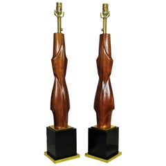 Pair of American Modern Mahogany and Brass Table Lamps, Laurel Lamp Company