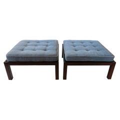 Pair of American Modern Oversized Dark Walnut Benches/ Ottomans