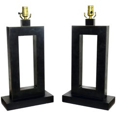 Pair of American Modern Rubbed Bronze Table Lamps, Laurel Lamp Company