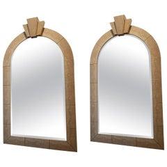 Pair of American Modern Snakeskin Mirrors
