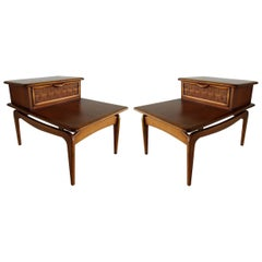 Pair of American Modern Walnut 2-Tier Nightstands, Lane Altavista
