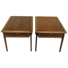 "Pair of American Modern Walnut ""Acclaim"" Series End Tables by Lane Furniture"