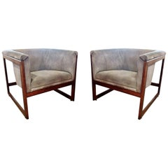 Pair of American Modern Walnut and Upholstered Armchairs, Milo Baughman