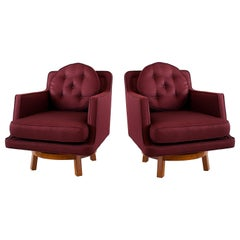 Pair of American Modern Walnut and Upholstered Swivel Chairs, Ed Wormley