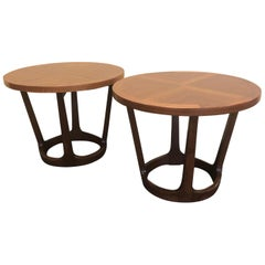 Pair of American Modern Walnut End / Side Tables by Lane Furniture