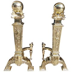 Pair of American Monumental Brass Ball Finial Ionic Capital Andirons, circa 1830