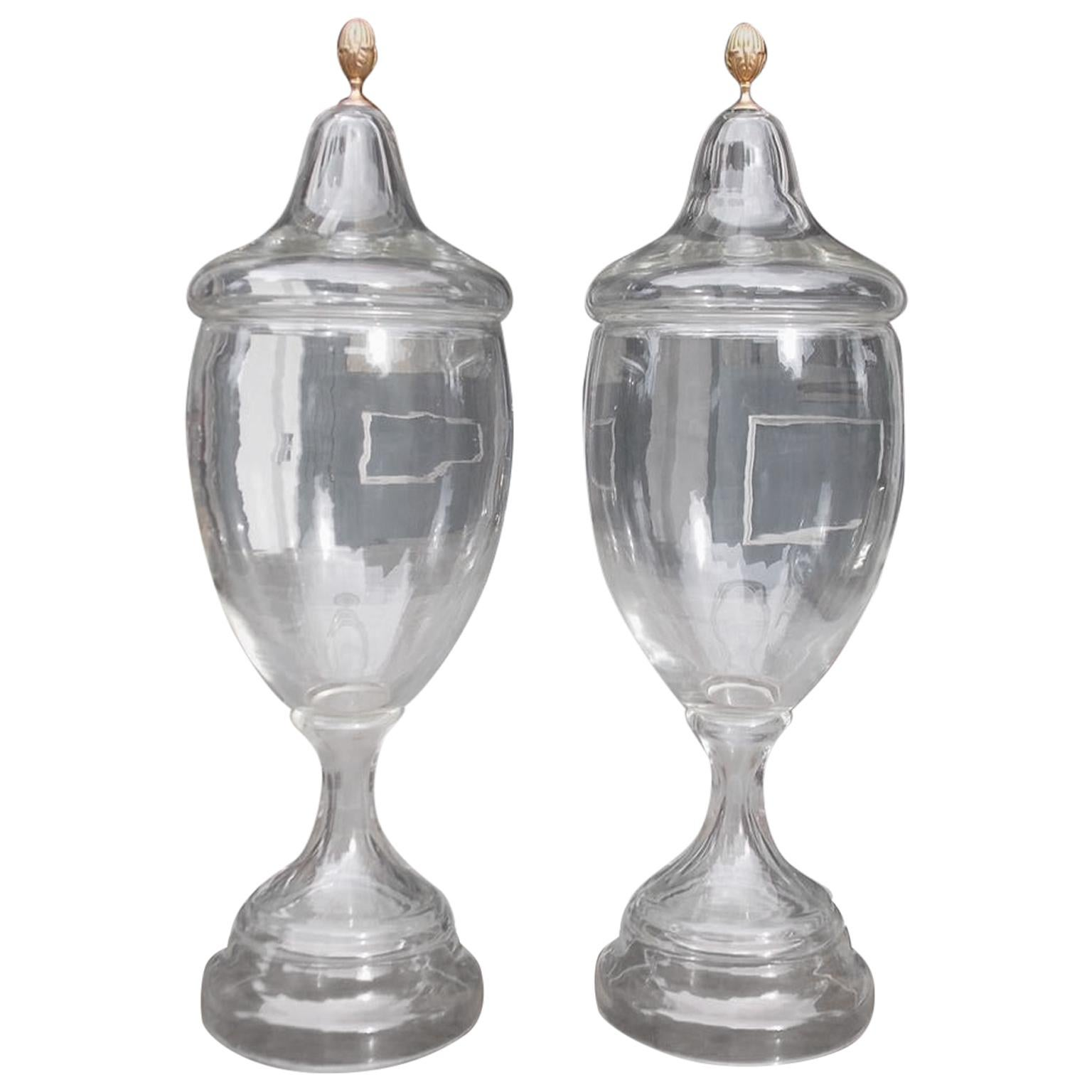 Pair of American Monumental Gilt Mount Hand Blown Apothecary Urns, Circa 1850