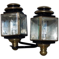 Pair of American Nickel Silver & Brass Coach Lanterns with Beveled Glass, C 1850
