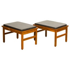 Pair of American of Martinsville Benches, with Original Leather Seats, America
