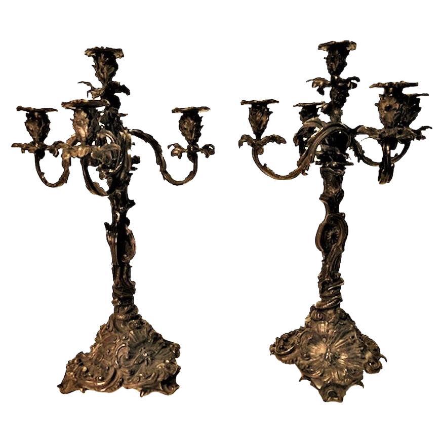 Pair of American Rococo Revival Patinated Bronze Candelabras, Ca. 1825
