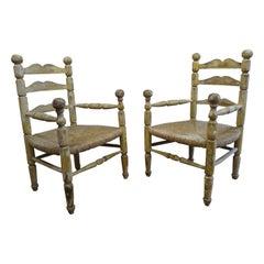 Pair of American Rustic Rush Chairs